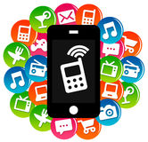 Apps. Communicating with apps on your smartphone Royalty Free Stock Images