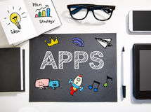 Apps concept with black and white workstation. Apps concept top view with black and white workstation Royalty Free Stock Images