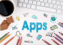 Apps, concept d'affaires blanc de Web de bureau de bureau d'homme d'affaires de furetage Illustration Stock