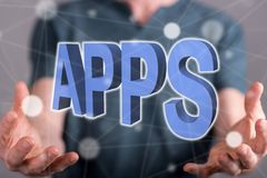 Concept of apps. Apps concept between hands of a man in background Royalty Free Stock Photography