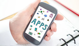 Apps concept on a smartphone. Apps concept shown on a smartphone screen Royalty Free Stock Photo