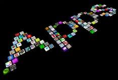 Apps - on couvrent de tuiles des graphismes des applications intelligentes de téléphone illustration de vecteur