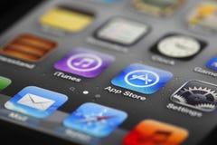 Apps de IPhone e loja do app Imagens de Stock