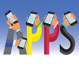 Apps de mano stock de ilustración