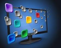 Apps della nube sul Internet TV/calcolatore Fotografia Stock Libera da Diritti