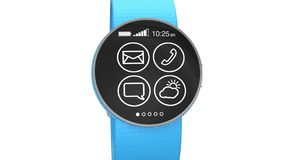 Apps demonstration on a smart watch stock video footage