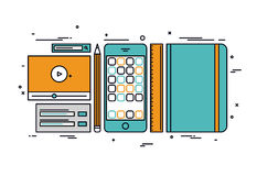 Apps develop line style illustration royalty free illustration