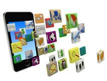 Apps di smartphone di trasferimento dal sistema centrale verso i satelliti Fotografia Stock Libera da Diritti