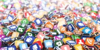 Apps di Smartphone Fondo delle icone del software di Internet di applicazione royalty illustrazione gratis