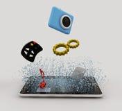 Apps die in de vertoning van gadget valt Stock Fotografie