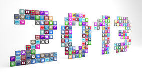 Apps displaying the year 2013. Large number of smartphone app icons displaying the year 2013 Royalty Free Stock Image