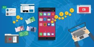 Apps economy mobile application development ecosystem. Concept illustration Stock Photos