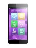 Apps elegantes del teléfono para supervisar la máquina del lavado, concepto para IoT Fotos de archivo
