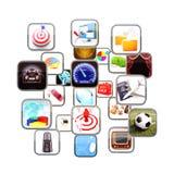 Apps elegantes del teléfono que fluyen en el espacio 3d. Foto de archivo