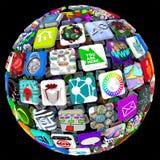 Apps en el modelo de la esfera - mundo de aplicaciones Foto de archivo libre de regalías