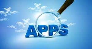 Apps et glas de agrandissement Photo stock
