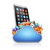 apps för mobiltelefon 3d och moln Fotografering för Bildbyråer