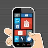 Apps för kontor UI för mänsklig hand sänker mobila färgrika ico Arkivfoto