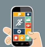 Apps för sportar UI för mänsklig hand sänker mobila färgrika ico Arkivfoton