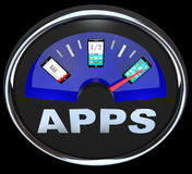 Apps Fuel Gauge Measures Applications in Smart Phone Stock Photo