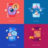 Apps, giochi, selfie della foto ed automobile mobili Immagini Stock Libere da Diritti