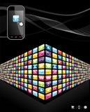 apps globalna ikon telefon komórkowy ściana Obraz Royalty Free
