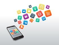 Apps icons floating from smartphone stock illustration