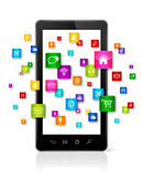 Apps icons flying around mobile phone Stock Photography