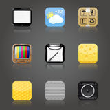 Apps icons with reflection Stock Photography
