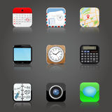 Apps icons set with reflection Royalty Free Stock Photography