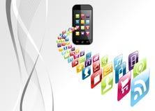 apps σφαιρική τεχνολογία iphone εικονιδίων ανασκόπησης Στοκ φωτογραφίες με δικαίωμα ελεύθερης χρήσης