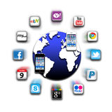 Apps iphone mobile world network. Apps are in use on all mobile phones like the iphone and are available from the Apple Apps ( applications application )Store Royalty Free Stock Photo