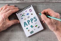 Apps-Konzept auf einem Notizblock Stockfotos