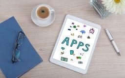 Apps-Konzept auf einer digitalen Tablette Stockfotos