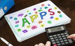 Apps-Konzept veranschaulicht auf einem Papier Lizenzfreies Stockfoto