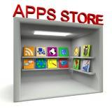 Apps lagerlokal över white Arkivbild