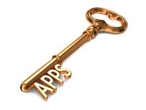 Apps - llave de oro. Fotografía de archivo libre de regalías