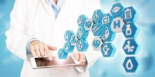 Apps médicos e conceito novo da tecnologia dos cuidados médicos imagem de stock