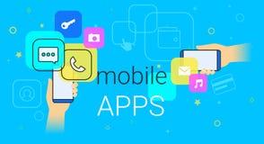 Apps móveis na ilustração do vetor do conceito do smartphone Imagens de Stock