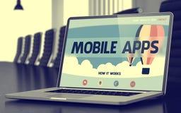 Apps móvel no portátil na sala de reunião 3d Fotografia de Stock Royalty Free