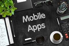 Apps móvel - texto no quadro preto rendição 3d Fotografia de Stock Royalty Free