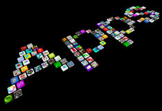 Apps - Many Tile Icons Of Smart Phone Applications Stock Image