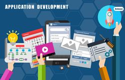 Apps mobile application development process and release Stock Photography