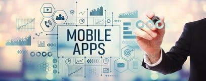 Apps mobile avec l'homme d'affaires photographie stock libre de droits