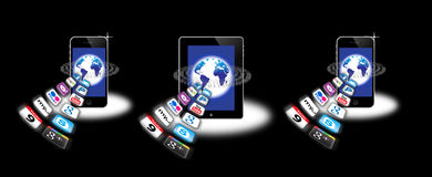 Apps on a mobile network Royalty Free Stock Photos