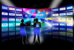 Apps mobile network video wall presentation Stock Photo