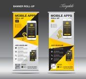 APPS MOBILES enroulent le calibre de bannière, disposition de support, bannière jaune illustration libre de droits