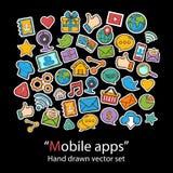 Apps mobili album La toppa di modo badges la raccolta Fotografia Stock Libera da Diritti