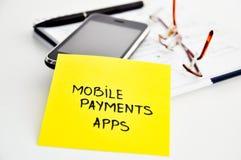 Apps mobili di attività bancarie Fotografie Stock