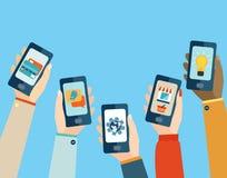 Apps móveis ajustados Fotografia de Stock Royalty Free